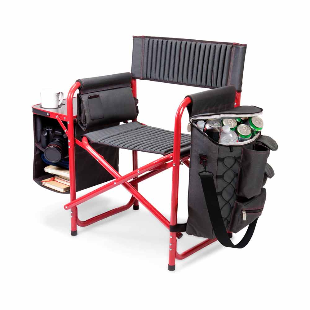 camping chair with cup holder and organizer